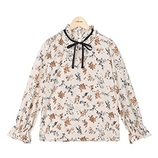 Ribbon string flower blouse